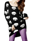 Women Long Dolman Sleeve Skull Print Casual Tunic Knit Shirt