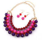 Bohemian Colorful Bead Gold Plated Earrings Necklace Short Chain Jewelry Set Hot