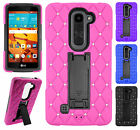 For LG Volt 2 LS751 HYBRID IMPACT KICKSTAND Dazzling Diamond Case Phone Cover