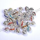 10pcs Quality Czech Crystal SILVER PLATED Charms Spacer BEADS Choose 6/8/10/12MM