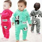 2Pcs Toddler Baby Boy Girls Panda Hoodie Outerwear Top Pants Outfit Clothing Set