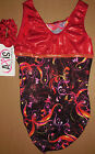 NWT Axis Gymnastic Dance Tank Leotard Foil Print Red orTurquoise Girls Szs 96189