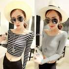 Womens Girls Long Sleeve Crew Neck Casual T-Shirt Crop Tops Blouse Shirt N4U8