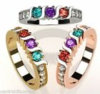 MOTHERS 14k White Yellow Rose Gold Ring 1-6 Birthstones S Bar w/ Side CZs