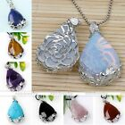 1x Natural Gemstone Teardrop Flower Wrap Clip Clasp Pendant For Necklace Jewelry