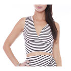L21669TH Fitted Horizontal Stripes Crop Top Junior's Clothing