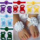 3pcs/Set Newborn Baby Girl Headband Foot Flower Elastic Hair Band Accessories