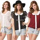 Fashion Women Loose Chiffon Polka Dot Tops Short Sleeve Shirt Casual Blouse N4U8