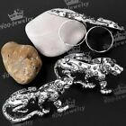 1pc Clear Crystal Studded Leopard Animal Double Ring US8.5 Fashion Jewelry Punk