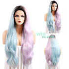 "28"" Long Wavy Blue & Purple With Dark Roots Lace Front Synthetic Wig"