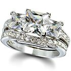 Sterling Silver wedding set size 9 CZ Princess cut Engagement Ring Bridal New