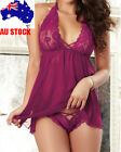 Fashion Sexy Maroon Red Lingere Chemise Floral Robe Sleepwear Plus Size K214