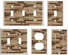 IMAGE OF GLASS TILE BROWN TONES LIGHT SWITCH COVER  2 U PICK PLATE SIZE