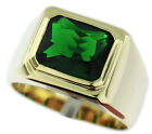 Mens Emerald Dark Green Solitaire 18kt Gold EP Ring