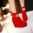 Women Ankle Boots Faux Suede Platform Wedge High Heel Back Zip Metal Decor Shoes