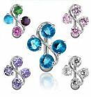 Top Down Reverse 4 Gem Vine Crystal CZ Belly Navel Ring Body Jewelry