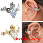 "CZ Crystal Gem Crown Wings""U""Bar Clip On Ear Stud Cartilage Earrings No Piercing"
