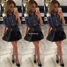 Women Lapel Long Sleeve Jean Button Down Shirt Lace Decor Denim Blouse Tops D0X8