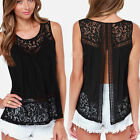 Sexy Black Sleeveless Lace Summer Casual Blouse Tanks Tops Vest T-Shirt S - 2XL