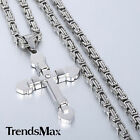 Double Layer CROSS Mens Chain 316L Stainless Steel Pendant Necklace 18-36'' NEW