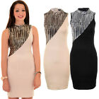 Ladies High Turtle Neck Sequin Evening Party Slim Fit Mini Bodycon Dress