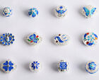Cloisonne Enamel round square  filigree silver plated copper spacer loose beads