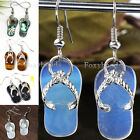 Pair Opal Opalite Shell Slipper Dangle Hook Earrings Eardrop Ear Piercing Gift