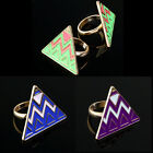 New Fashion Gold Tone Pyramid Taper Geometrical Triangle Adjustable Finger Ring