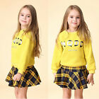 Baby Girls Outfit Clothes Shirts Sweater Hoodie+Plaid Short Skirt 2pcs Set 3-12Y
