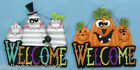 Ghost or Pumpkin Family Metal Welcome Hanging Sign hh65577 2 Styles! NEW