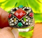 Emerald,Ruby Gemstone Turkish Victorian .925 Silver Plated Designer Ring GJR505