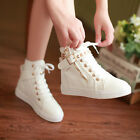 Womens Shoes Flat Canvas Sneakers Casual Lace Up High Top Korean Athletic Shoes