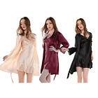 Women Sexy Sleepwear Pajamas Set Lace Bow Chemise Robe Slip Dress & Coat