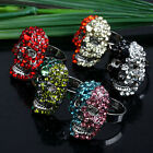1pc Crystal Studded Skull Head Finger Ring Us7 Adjustable Women Jewelry Fashion