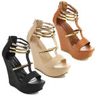 I HEART COLLECTION JACKY-10 Women's T-Strap Open Toe Wedges Golden Straps Wedges