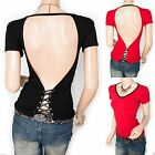 Unique Sexiest Backless Corset Lace Up Short Sleeves Blouse Top