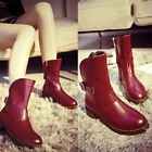 New Women Autumn PU Leather Red Martin Ankle Boots Ladies Flat Casual Shoes Size
