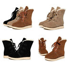 New Womens Winter Lace Up Flat Heel Ankle Ladies Platform Snow Warm Martin Boots