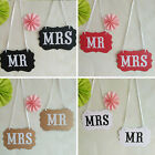 1 Pair Mr and Mrs Photo Picture Booth Chair Signs Weddings Photograhs Props