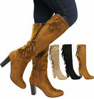 Ladies Womens Mid Block Heel Knee High Calf Fringe Suede Riding Boots Shoes Size
