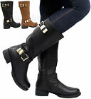 Ladies Womens Buckle Knee Calf High Mid Block Heel Riding Biker Boots Shoes Size