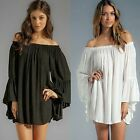 Lined Boat Neck Off Shoulder Chiffon Loose Women's Night Club Shirt Blouse Tops