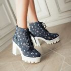 Womens Sweet Platform Chunky High Heel Lace Up Floral Motorcycle Riding Boots Sz