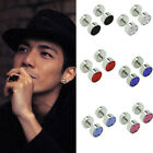 Silver Men's Barbell Punk Stainless Steel Crystal Ear Studs Earring