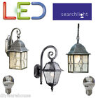 SEARCHLIGHT LED 5.9W BLACK SILVER CHOICE OF OUTSIDE LANTERN WALL GARDEN DIE CAST