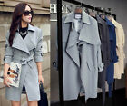 2015 Style Ladies Belted Long Sleeve Coat Trench Coat jacket 4 colors plus size