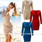 Rare Womens Long Sleeve Side Slit Casual V neck Party Bodycon Mini Dress