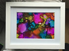 "Multi-coloured Abstract Ink Artwork - Ready to hang in 10"" x 8"" Frame"