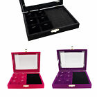 Color Velvet Glass Top Lid Jewelry Display Box for Rings Cuffs Charms Pendants