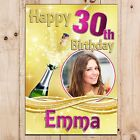 Personalised 18th 21st 30th 40th 50th 60 Happy Birthday PHOTO Poster Banner N57